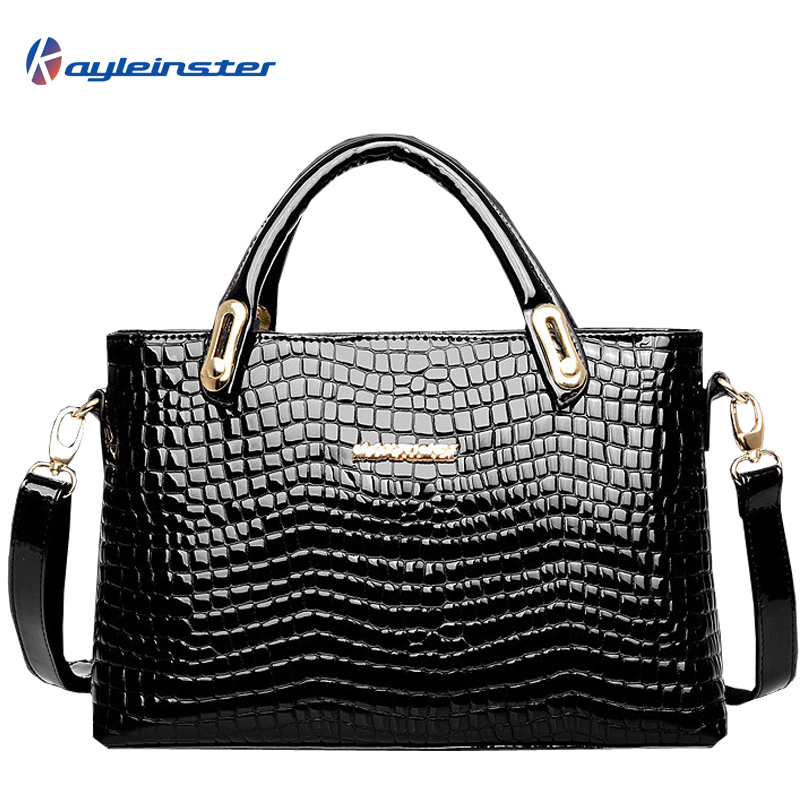 HOT New 2015 Genuine Leather Women Handbag Crocodile Pattern Women Shouder Bag Fashion Patent Leather Bolsas Tote Shoulder Bag