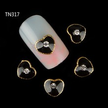 10pcs Black Metal Heart Rhinestones 3d Nail Art Decorations Alloy Nail Stcikers Charms Jewelry for Nail