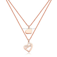 Rose Gold Stainless Steel Heart Shape Love Necklace For Women,Female Short Design Double Layer Necklace