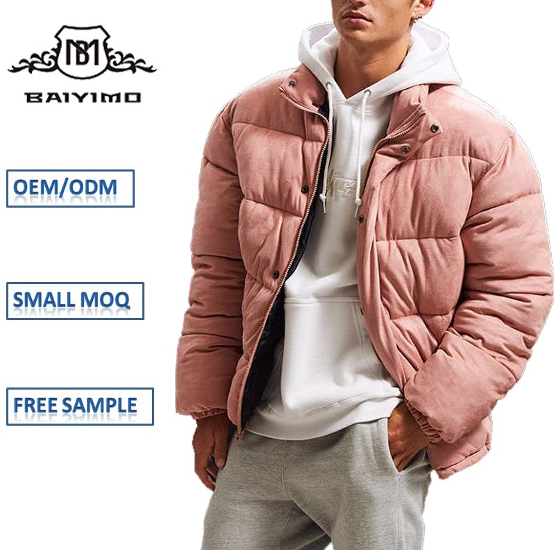 New Fashion Custom Winter Short Design Warm Pink Suede Puffer Down Jacket Man