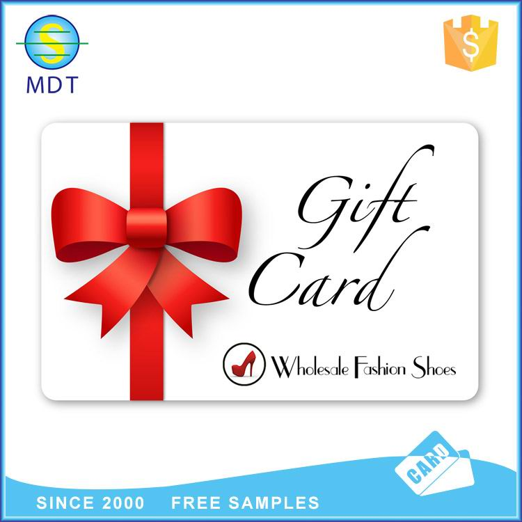 Mdt O gift card both sides printing  in  plastic pvc material
