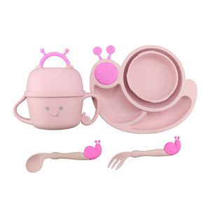 Amazon Top Seller 2018 Factory Direct Wheat Straw Creative Anti-scalding Children Tableware