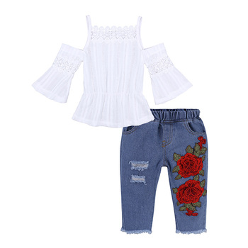 Hao Baby Summer Explosion European And American Girls Sling Sleeve Top Embroidered Denim Clothes For Kid Girls