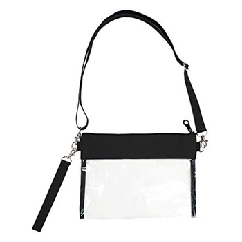 Clear Zip Pouch Black Custom Stadium PVC Transparent Shoulder Bag with Detachable Crossbody Strap and Wristlet