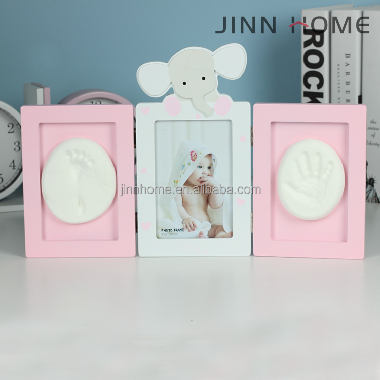 Elephant Anaimal Design Shape -Photo frame DIY handprint footprint -Soft Clay Safe Inkpad non toxic- baby handprint photo Frame