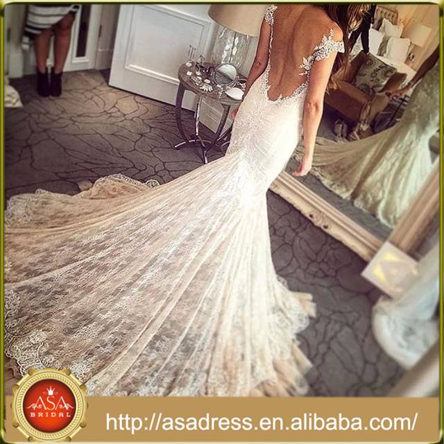 WD-14 Sexy Mermaid Wedding Gown with Long Train 2015 New Fashion Lace Backless Wedding Dresses for Beach Weddings