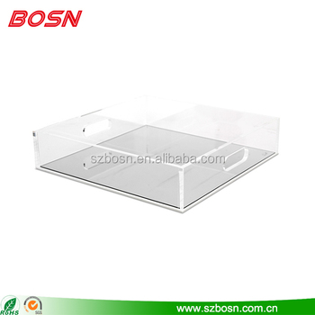 Clear acrylic tray with mirror base