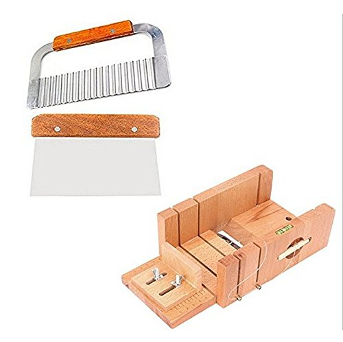 6MILES 2 Pcs Stainless Steel Soap Cutter Straight DIY Soap Cake Making Mold Loaf Garnish Cake Cutter + 1 Pcs Newest Wood Box with Line Wire Home Tool Graters Peelers Slicers Knife Set(Adjustable)