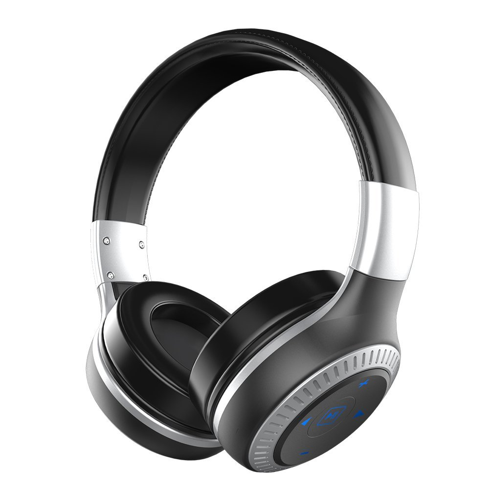 ZEALOT B20 Wireless Headset Foldable On-Ear Bluetooth Headphones with HD Sound Quality Superior Bass (Black+Silver)