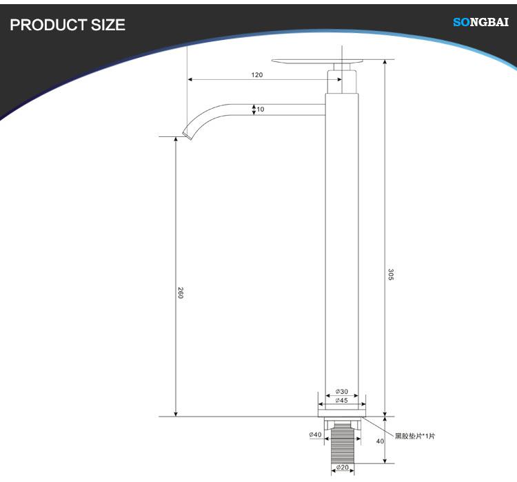 SUS 201/304 desk mount tap single cold china manufacturer basin faucet bathroom