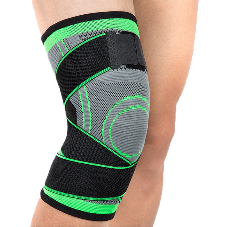 Most popular Knitted nylon spandex knee sleeve brace with non-slip and elastic tape for men and women, Customized color