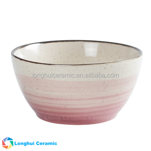 5.4inch streak speckle handpainted retro style ceramic mixing bowl