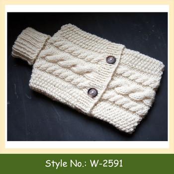 W 2591 Knit Pattern Hot Water Bottle Cosy Custom Crochet Hot Water