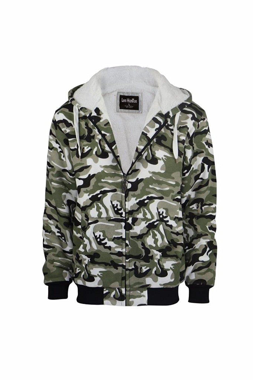 Lee Hanton Men's Full Zip Military Camo Sherpa Lined Fleece Hoodie Sweatshirts