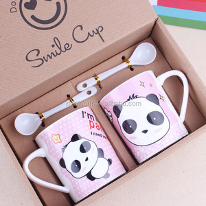 creative cartoon animal pink panda ceramic couples cup 2 in 1 set with porcelain spoon