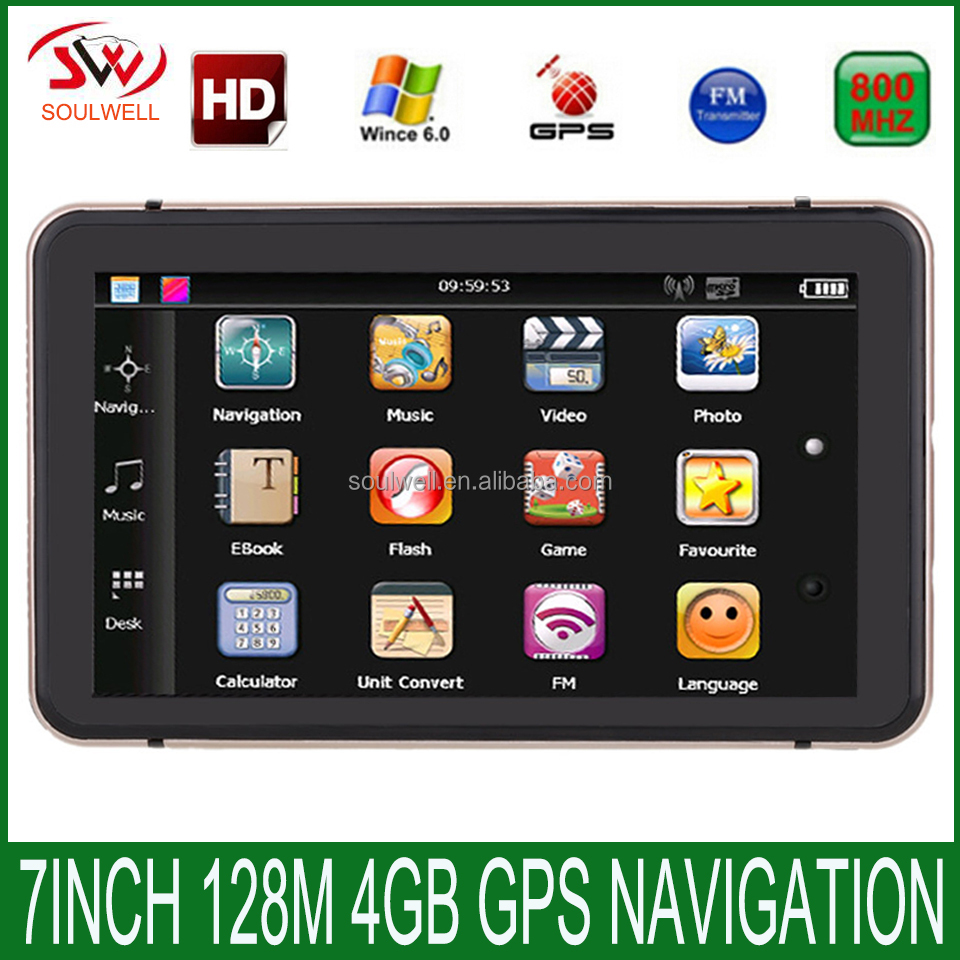 New 7 inch HD Car GPS Navigation CPU 800MHZ FM/4GB/DDR128M 2016 Maps For Europe/USA+Canada TRUCK Navi