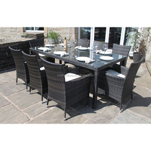 Top sale synthetic rattan weaving material wicker 9pcs dining chair outdoor furniture
