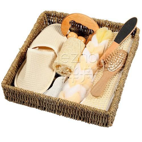 bath gift set, natural straw basket bath spa gift set
