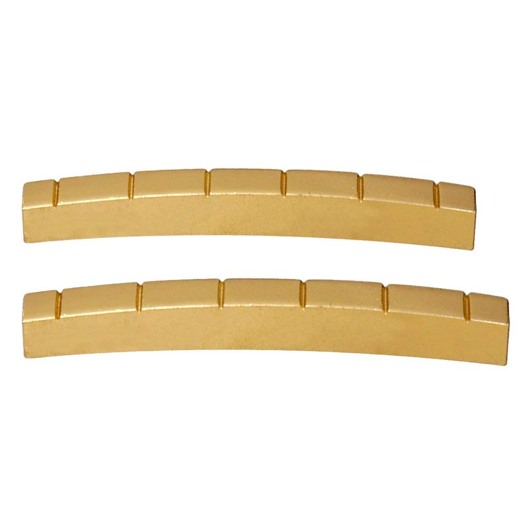 Baoblaze 43mm 42mm Guitar Slotted Brass Nut ST Guitar Parts for 6 Strings Guitar Gold