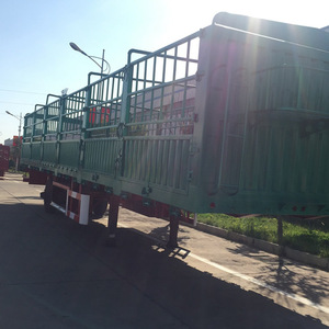 China Famous Container Tri-axle Poultry Transport Truck 20m3 Damper 50ton Fence Stake Semi Trailer For Livestock