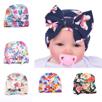Baby Kids Flower Hats Hospital Newborn Baby Knit Beanies With Bow Warm  Sleep Cotton Toddler Cap bf3c12cdaed