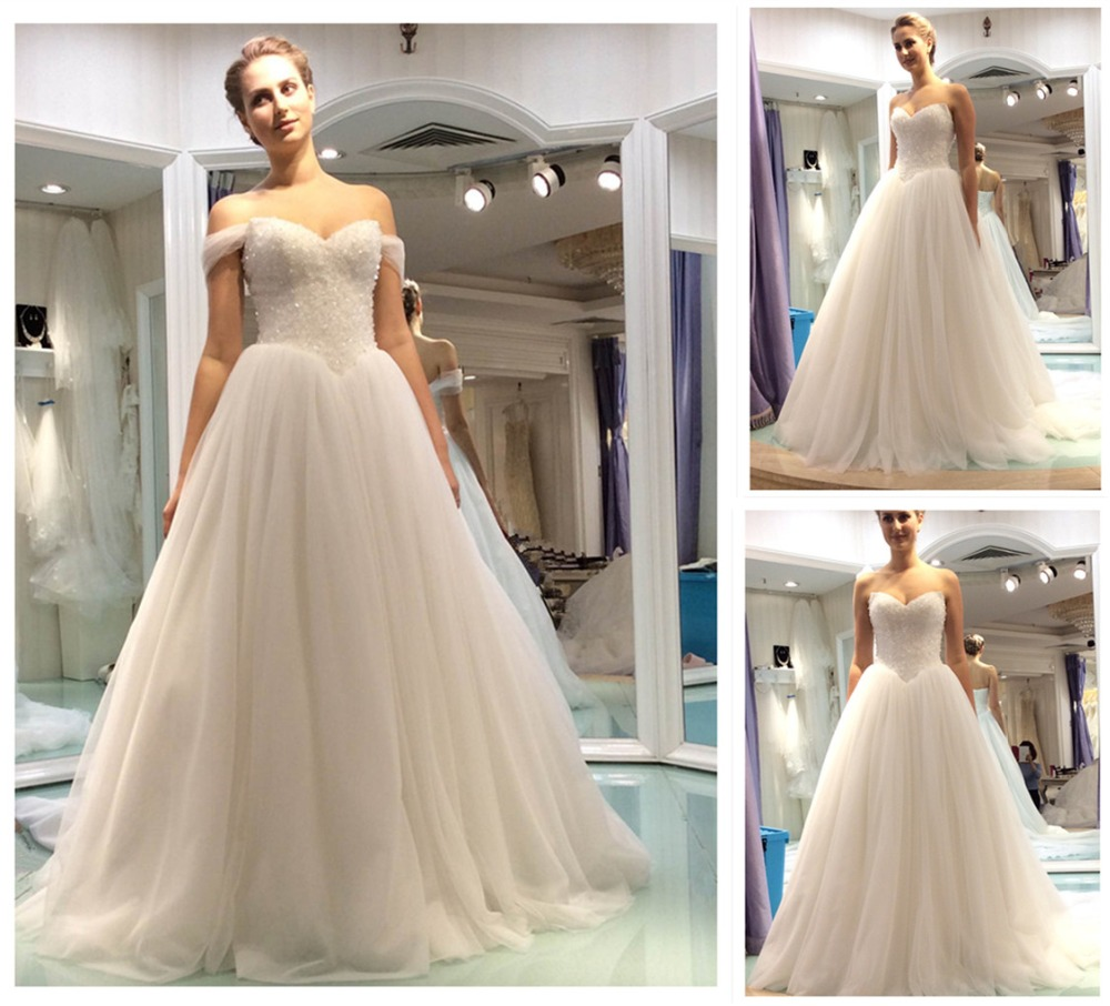 2016 Real Sample Vestidos De Novia Sweetheart V Waist Princess Gowns ...