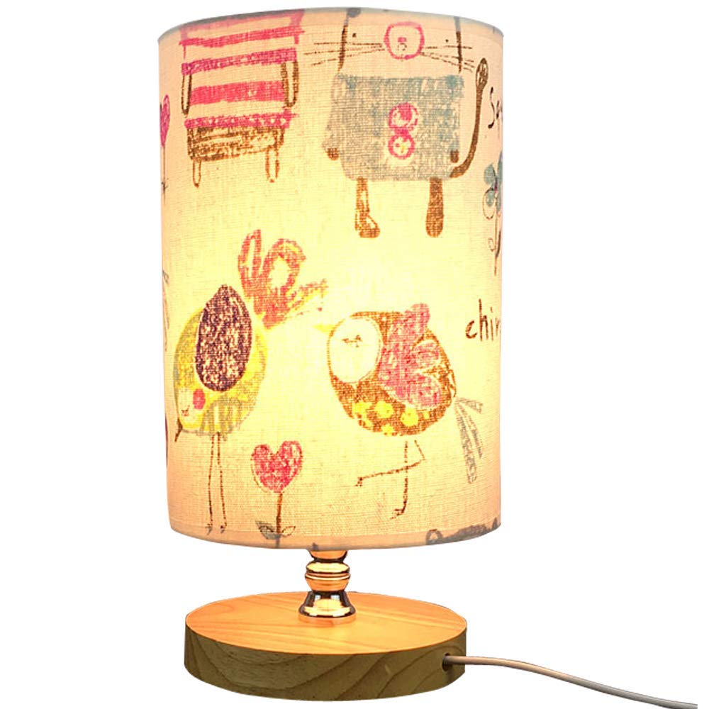 VGAzer Bedside Table Lamp Nightstand Lamp with Wooden base and Cute Cartoon Pattern Fabric Shade for Kids Room, Bedroom, Living Room, Dresser, College Dorm, Coffee Table, Bookcase (Animals)