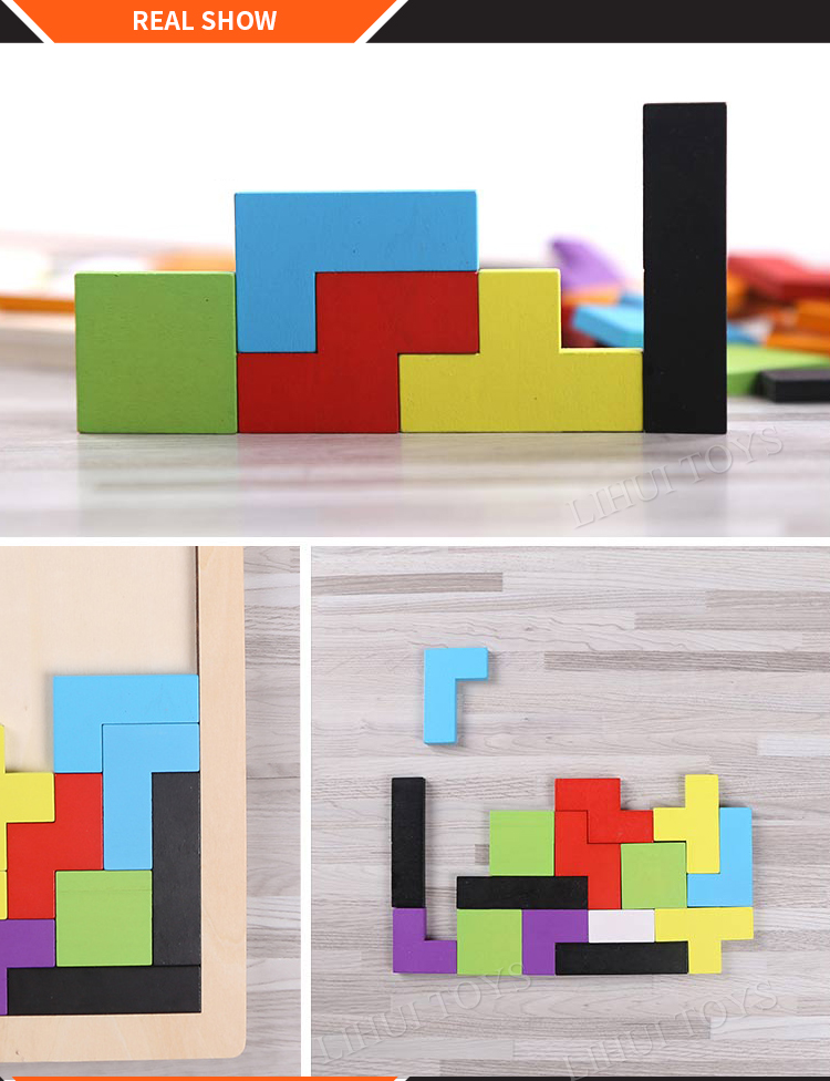 Low MOQ Kid Educational Wooden Tetris Big Puzzle Game Toy