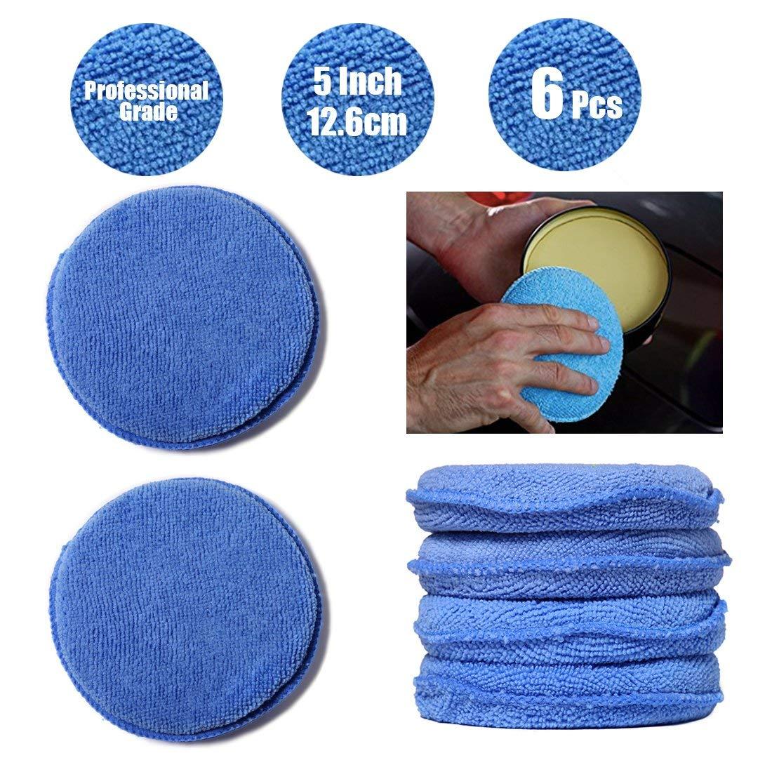Get quotations · wildauto microfiber wax applicator car foam wax sponge applicator pads blue 5