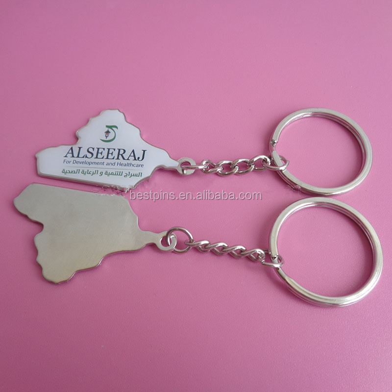 custom adversting metal print company logo metal key chains, for development and healthcare gifts key ring