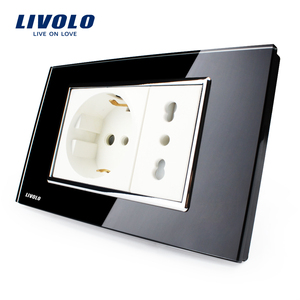 Livolo Italian Socket Black german socket Tempered Glass switch socket 10A/16A AC 250V Wall Powerpoints With Plug VL-C3C2CIT-82