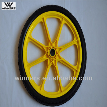 20 Inch Plastic PU Foam Garden Cart Wheels With Ball Bearings