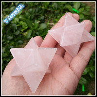 Wholesale Natural Rose Quartz Crystal Merkaba Star For Pendant
