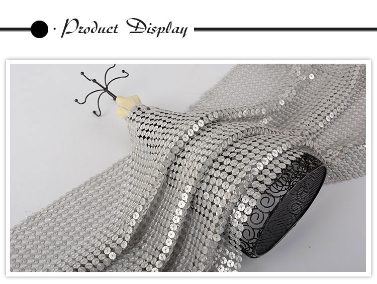 Hot sale Oem accept soft 100 polyester silver reversible sequin fabric