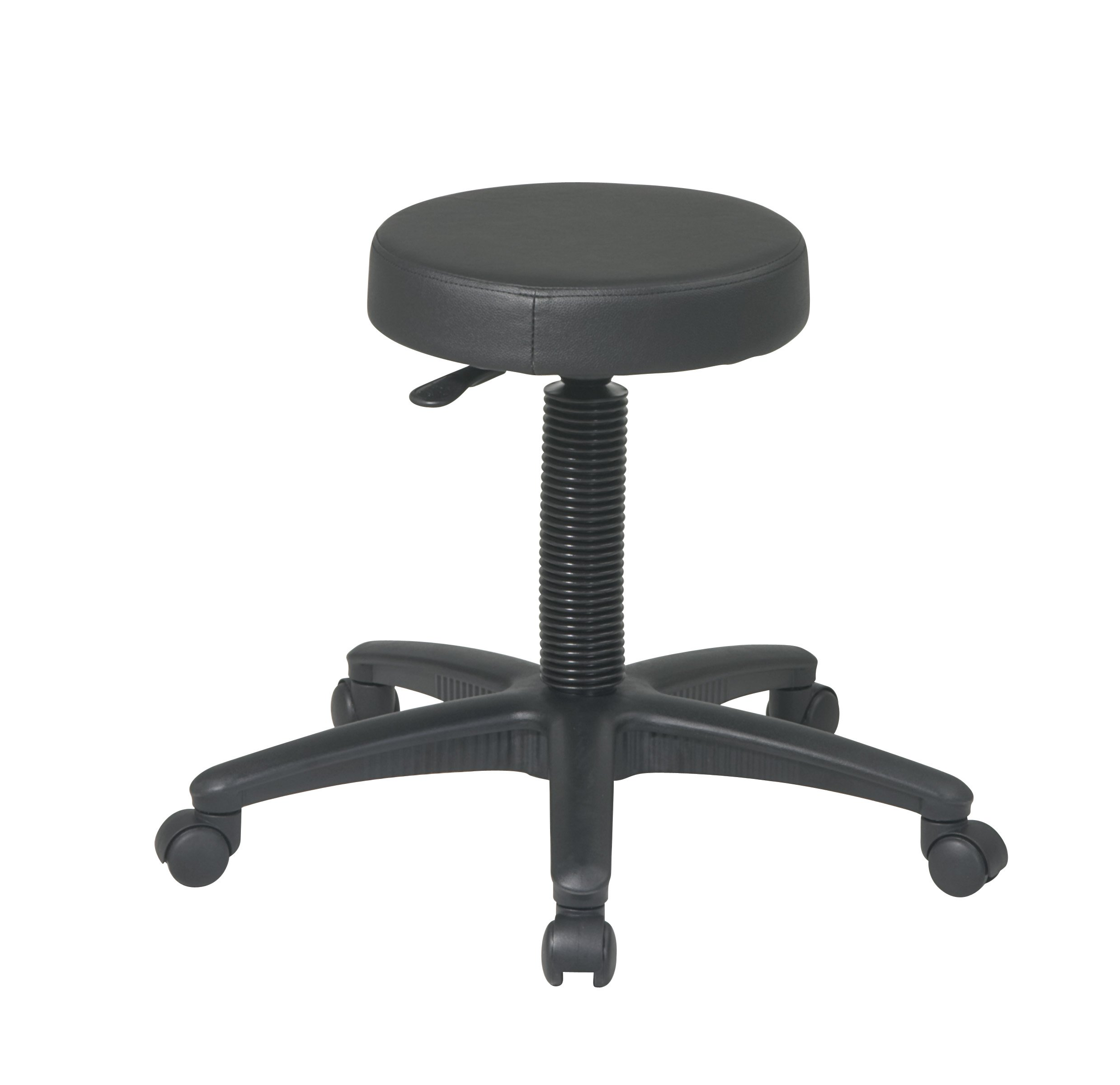 Office Star Thick Padded Vinyl Seat Backless Drafting Stool, Black, 17.25-24.5-Inch Heigh Adjustable
