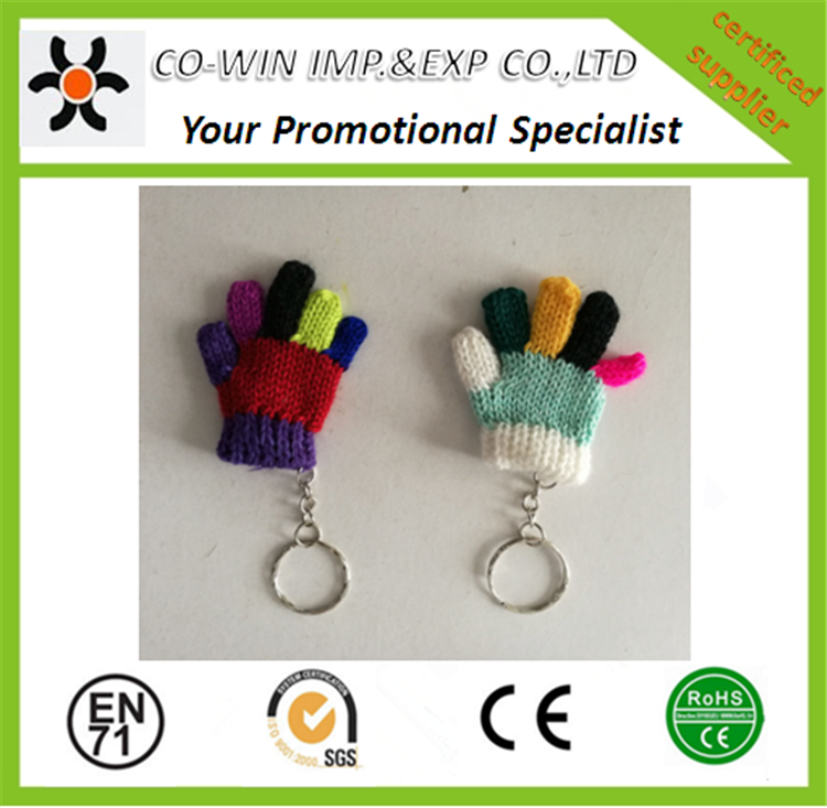 custom cheap mini glove fabric keychains colorful keyring