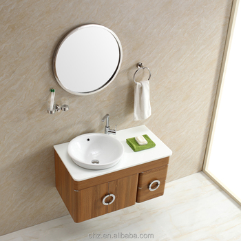 Project decoration stainless steel bathroom wash basin mirror cabinet vanity with round mirror for Round mirror bathroom cabinet