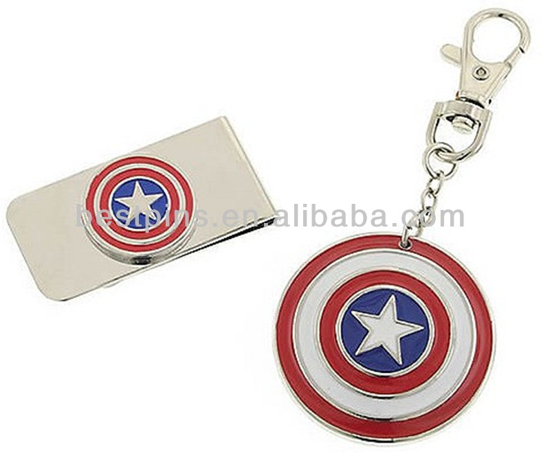 Custom flm character Thor shield metal key chain money clip