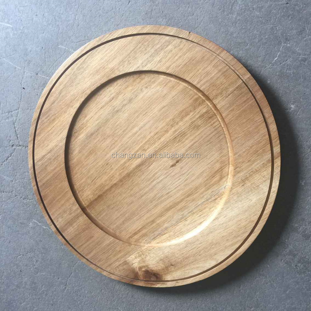 Wooden Round Durable Carving Steak Tray