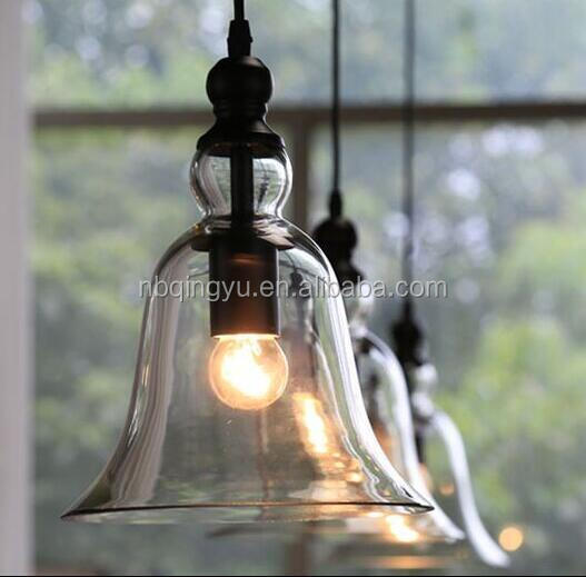 Bell style glass shade pendant lamp vintage hanging <strong>light</strong> with edsion bulb ST64 or saving lamp