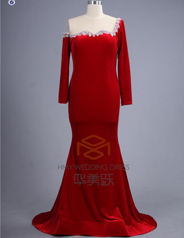 e2f556aaa89 Custom Made Red Velvet one shoulder Mermaid velvet Evening Dinner Dress  plus size