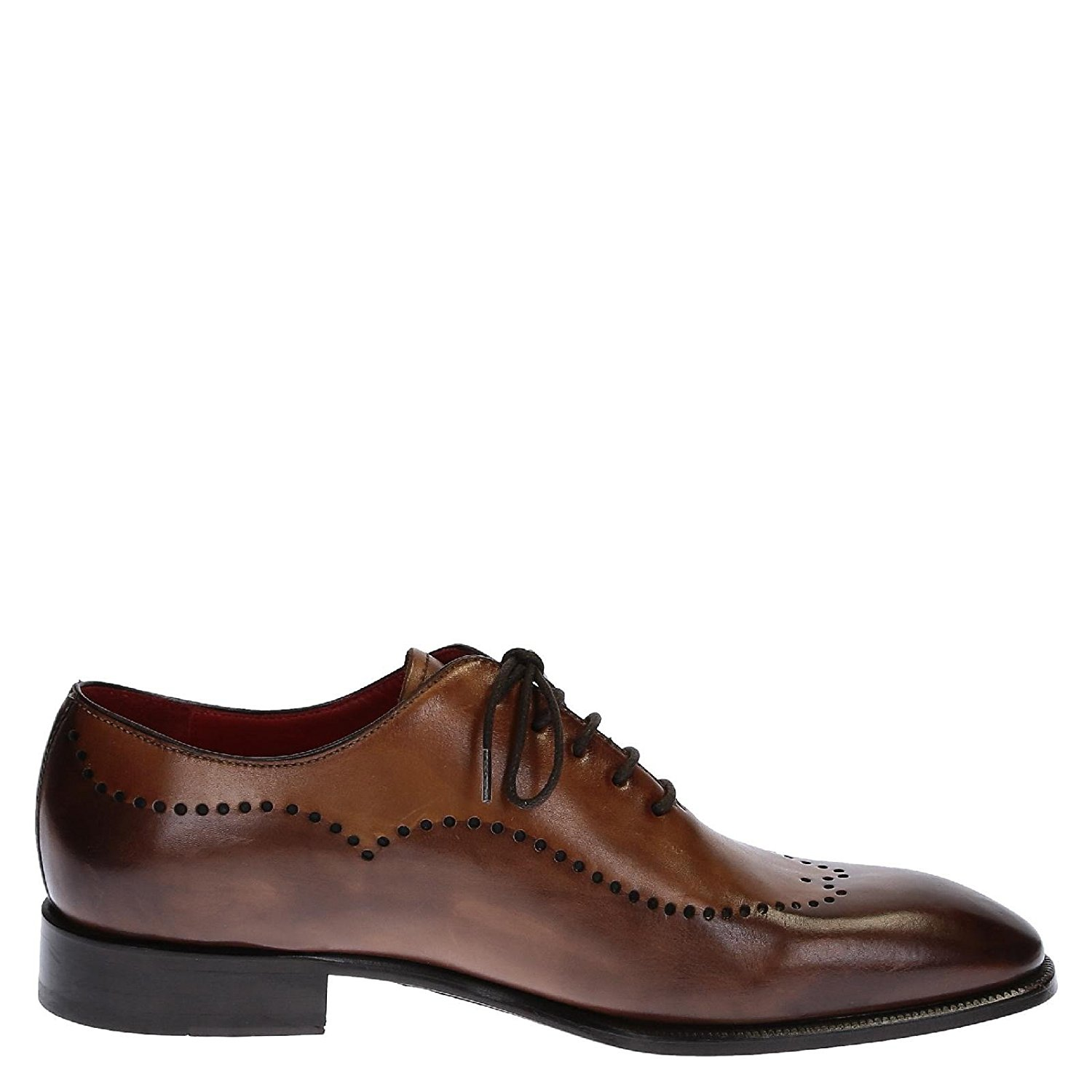 LEONARDO SHOES Men's 0688114221FORMASCAMONTECARLO Brown Leather Lace-up Shoes
