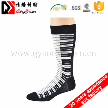 Unisex custom patterned winter socks wholesale polshiny seamless compression funny piano key pattern socks