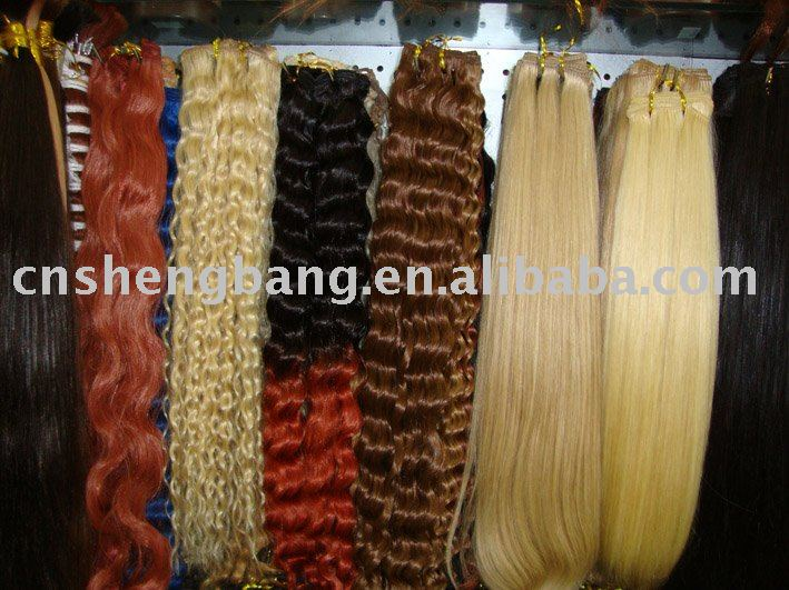 100% human hair weft/hair weaving blonde color, straight /wave Customerized factory on sale
