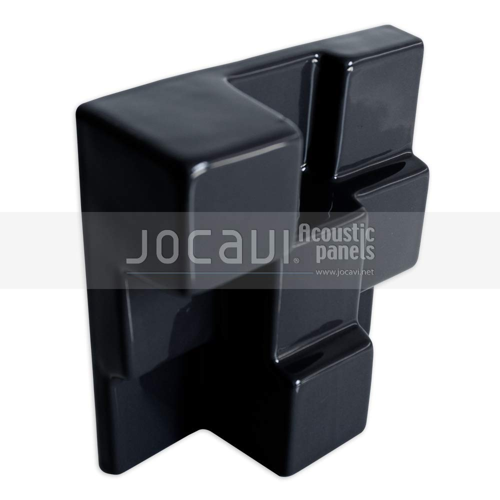 "JOCAVI SquaryDiffusor Ceramic Acoustic Diffuser Wall and Ceiling Tiles, Recording Studio Sound Treatment, Black, 5.9"" x 5.9"" x 2.2"" (6-Pack)"
