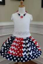 Chevron polka dot american national day costumes children girls cotton suit sets kids boutique clothes