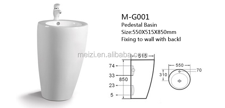 Bathroom unique ceramic pedestal sink round circular wash basin