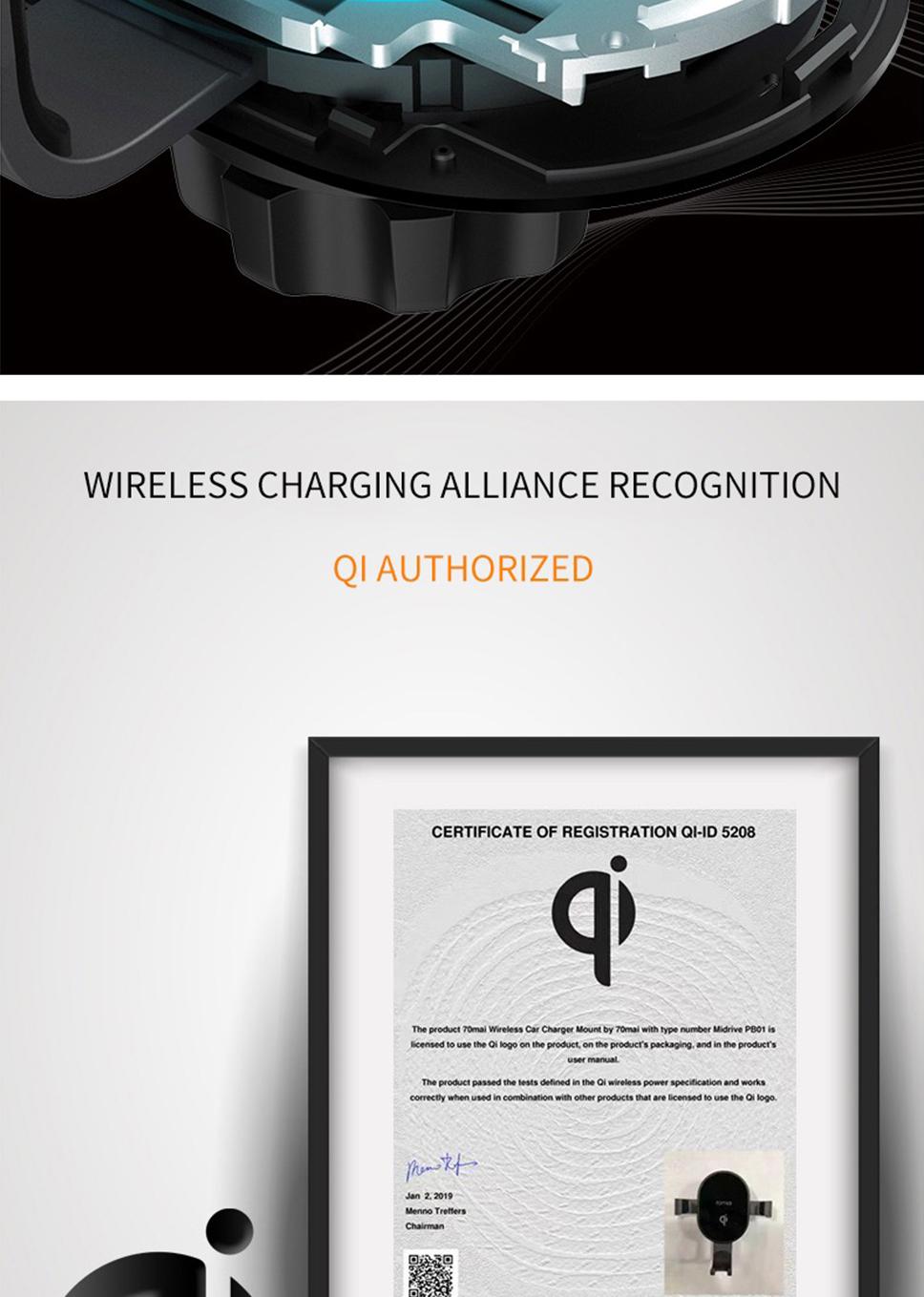 Xiaomi 70mai Qi Wireless Charger Universal Car Bracket Cell Phone Holder  Intelligent Sensor For Car Auto