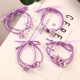 Handmade New Fashion Purple Shiny Beads Elastic Rubber Bands Headwear Women Girl Ponytail Hair Rope Child Hair Accessories