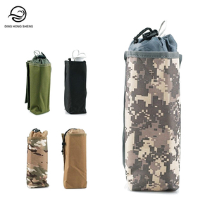 Army Style Tactical Water Bottle Carry Bag With Elastic Drawstring And Waist Molle Design